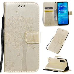 Embossing Butterfly Tree Leather Wallet Case for Xiaomi Mi A3 - Champagne