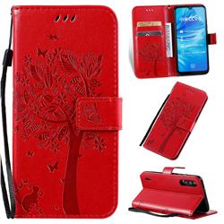 Embossing Butterfly Tree Leather Wallet Case for Xiaomi Mi A3 - Red