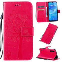 Embossing Butterfly Tree Leather Wallet Case for Xiaomi Mi A3 - Rose