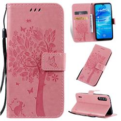 Embossing Butterfly Tree Leather Wallet Case for Xiaomi Mi A3 - Pink