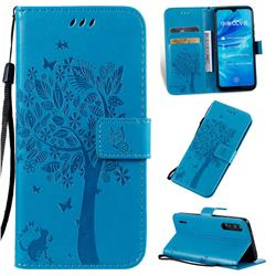 Embossing Butterfly Tree Leather Wallet Case for Xiaomi Mi A3 - Blue
