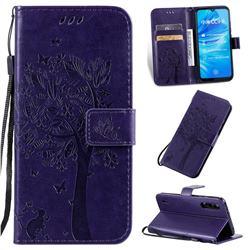 Embossing Butterfly Tree Leather Wallet Case for Xiaomi Mi A3 - Purple