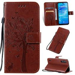 Embossing Butterfly Tree Leather Wallet Case for Xiaomi Mi A3 - Coffee