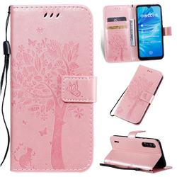 Embossing Butterfly Tree Leather Wallet Case for Xiaomi Mi A3 - Rose Pink