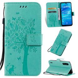 Embossing Butterfly Tree Leather Wallet Case for Xiaomi Mi A3 - Cyan