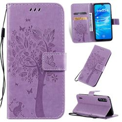 Embossing Butterfly Tree Leather Wallet Case for Xiaomi Mi A3 - Violet