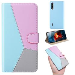 Tricolour Stitching Wallet Flip Cover for Xiaomi Mi A3 - Blue
