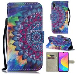 Oil Painting Mandala 3D Painted Leather Wallet Phone Case for Xiaomi Mi A3