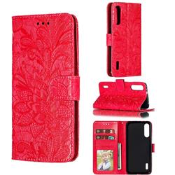 Intricate Embossing Lace Jasmine Flower Leather Wallet Case for Xiaomi Mi A3 - Red