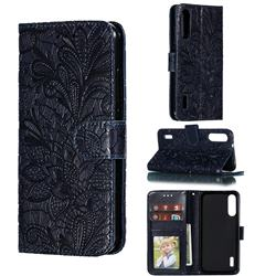 Intricate Embossing Lace Jasmine Flower Leather Wallet Case for Xiaomi Mi A3 - Dark Blue