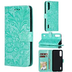 Intricate Embossing Lace Jasmine Flower Leather Wallet Case for Xiaomi Mi A3 - Green