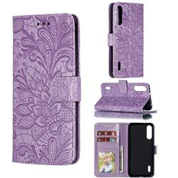 Intricate Embossing Lace Jasmine Flower Leather Wallet Case for Xiaomi Mi A3 - Purple