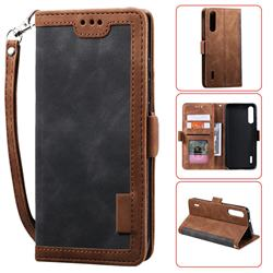Luxury Retro Stitching Leather Wallet Phone Case for Xiaomi Mi A3 - Gray