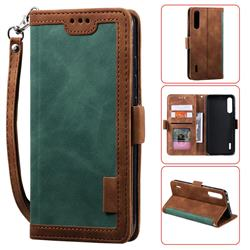 Luxury Retro Stitching Leather Wallet Phone Case for Xiaomi Mi A3 - Dark Green