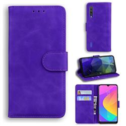 Retro Classic Skin Feel Leather Wallet Phone Case for Xiaomi Mi A3 - Purple