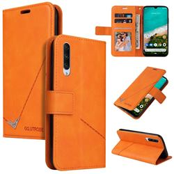 GQ.UTROBE Right Angle Silver Pendant Leather Wallet Phone Case for Xiaomi Mi A3 - Orange