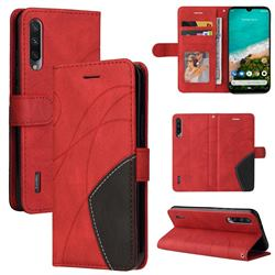 Luxury Two-color Stitching Leather Wallet Case Cover for Xiaomi Mi A3 - Red