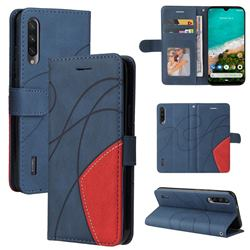 Luxury Two-color Stitching Leather Wallet Case Cover for Xiaomi Mi A3 - Blue