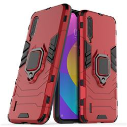 Black Panther Armor Metal Ring Grip Shockproof Dual Layer Rugged Hard Cover for Xiaomi Mi CC9 (Mi CC9mt Meitu Edition) - Red