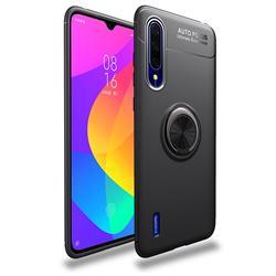 Auto Focus Invisible Ring Holder Soft Phone Case for Xiaomi Mi CC9 (Mi CC9mt Meitu Edition) - Black
