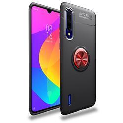 Auto Focus Invisible Ring Holder Soft Phone Case for Xiaomi Mi CC9 (Mi CC9mt Meitu Edition) - Black Red