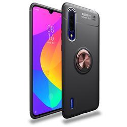 Auto Focus Invisible Ring Holder Soft Phone Case for Xiaomi Mi CC9 (Mi CC9mt Meitu Edition) - Black Gold