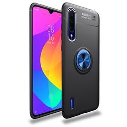 Auto Focus Invisible Ring Holder Soft Phone Case for Xiaomi Mi CC9 (Mi CC9mt Meitu Edition) - Black Blue