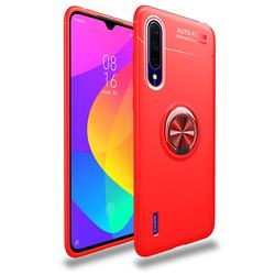 Auto Focus Invisible Ring Holder Soft Phone Case for Xiaomi Mi CC9 (Mi CC9mt Meitu Edition) - Red