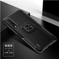 Knight Armor Anti Drop PC + Silicone Invisible Ring Holder Phone Cover for Xiaomi Mi CC9 (Mi CC9mt Meitu Edition) - Black