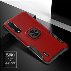 Knight Armor Anti Drop PC + Silicone Invisible Ring Holder Phone Cover for Xiaomi Mi CC9 (Mi CC9mt Meitu Edition) - Red