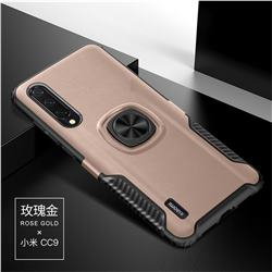 Knight Armor Anti Drop PC + Silicone Invisible Ring Holder Phone Cover for Xiaomi Mi CC9 (Mi CC9mt Meitu Edition) - Rose Gold