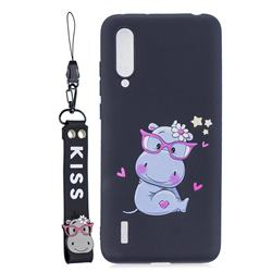 Black Flower Hippo Soft Kiss Candy Hand Strap Silicone Case for Xiaomi Mi CC9 (Mi CC9mt Meitu Edition)