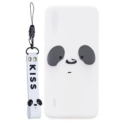 White Feather Panda Soft Kiss Candy Hand Strap Silicone Case for Xiaomi Mi CC9 (Mi CC9mt Meitu Edition)