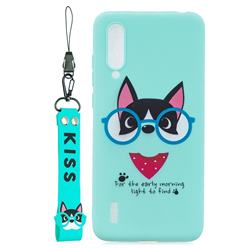Green Glasses Dog Soft Kiss Candy Hand Strap Silicone Case for Xiaomi Mi CC9 (Mi CC9mt Meitu Edition)