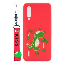 Red Dinosaur Soft Kiss Candy Hand Strap Silicone Case for Xiaomi Mi CC9 (Mi CC9mt Meitu Edition)