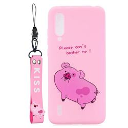 Pink Cute Pig Soft Kiss Candy Hand Strap Silicone Case for Xiaomi Mi CC9 (Mi CC9mt Meitu Edition)
