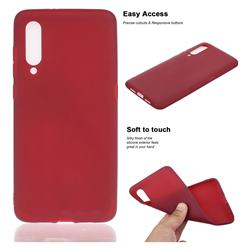 Soft Matte Silicone Phone Cover for Xiaomi Mi CC9 (Mi CC9mt Meitu Edition) - Wine Red