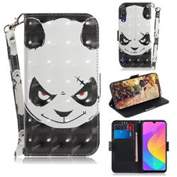 Angry Bear 3D Painted Leather Wallet Phone Case for Xiaomi Mi CC9 (Mi CC9mt Meitu Edition)