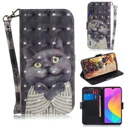 Cat Embrace 3D Painted Leather Wallet Phone Case for Xiaomi Mi CC9 (Mi CC9mt Meitu Edition)