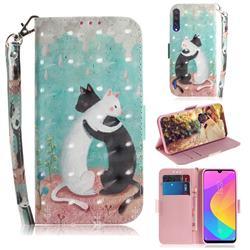 Black and White Cat 3D Painted Leather Wallet Phone Case for Xiaomi Mi CC9 (Mi CC9mt Meitu Edition)