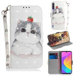 Cute Tomato Cat 3D Painted Leather Wallet Phone Case for Xiaomi Mi CC9 (Mi CC9mt Meitu Edition)