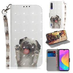 Pug Dog 3D Painted Leather Wallet Phone Case for Xiaomi Mi CC9 (Mi CC9mt Meitu Edition)