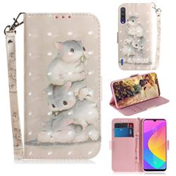 Three Squirrels 3D Painted Leather Wallet Phone Case for Xiaomi Mi CC9 (Mi CC9mt Meitu Edition)