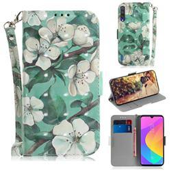 Watercolor Flower 3D Painted Leather Wallet Phone Case for Xiaomi Mi CC9 (Mi CC9mt Meitu Edition)