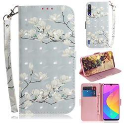 Magnolia Flower 3D Painted Leather Wallet Phone Case for Xiaomi Mi CC9 (Mi CC9mt Meitu Edition)