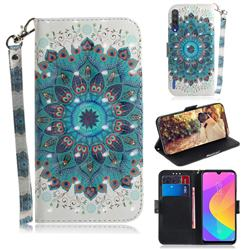 Peacock Mandala 3D Painted Leather Wallet Phone Case for Xiaomi Mi CC9 (Mi CC9mt Meitu Edition)