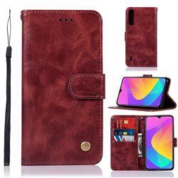 Luxury Retro Leather Wallet Case for Xiaomi Mi CC9 (Mi CC9mt Meitu Edition) - Wine Red