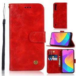 Luxury Retro Leather Wallet Case for Xiaomi Mi CC9 (Mi CC9mt Meitu Edition) - Red