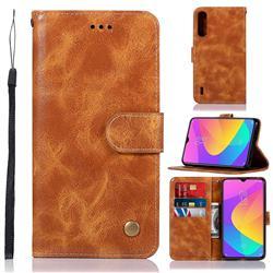 Luxury Retro Leather Wallet Case for Xiaomi Mi CC9 (Mi CC9mt Meitu Edition) - Golden