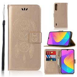 Intricate Embossing Owl Campanula Leather Wallet Case for Xiaomi Mi CC9 (Mi CC9mt Meitu Edition) - Champagne